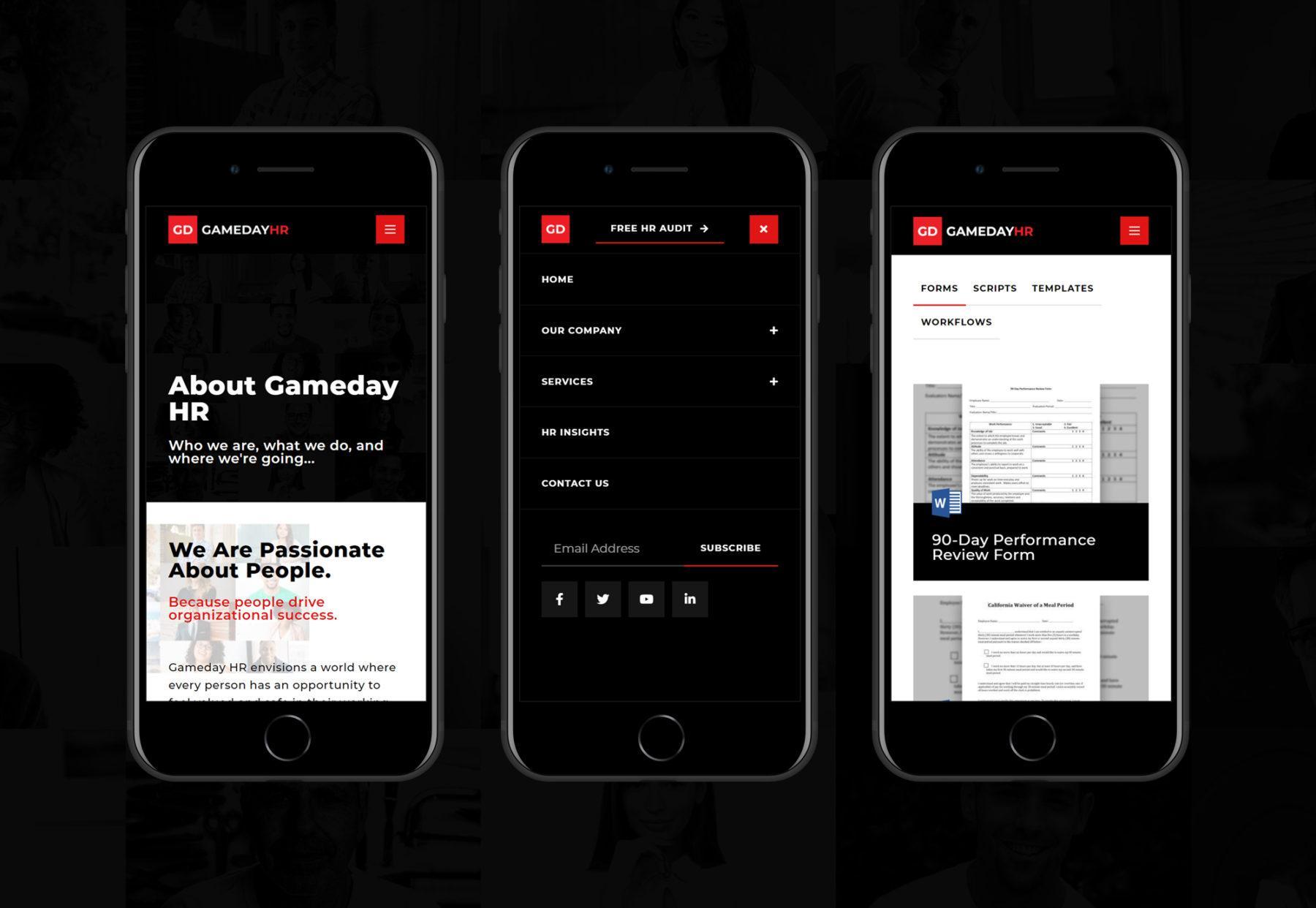 Gameday HR mobile Mockup website design