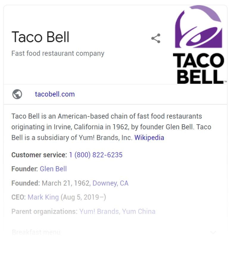 Taco Bell's Google My Business local SEO listing SEO Best Practices: 20 Best Practices for Great SEO