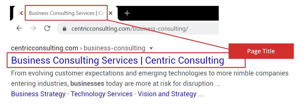 Example showing where the page title is displayed on search results and in browser header SEO Best Practices: 20 Best Practices for Great SEO